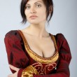 Pretty girl in a dress medieval — Stock Photo