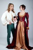Beautiful couple of medieval costumes — Stock fotografie