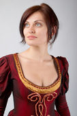 Pretty girl in dress medieval — Stockfoto