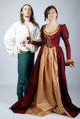 Beautiful pair of medieval costumes — Zdjęcie stockowe