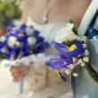 Стоковое фото: Bridal bouquet and boutonniere groom