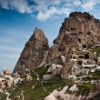 Cappadocia valley. Uchisar cave castle. - Stock Photo