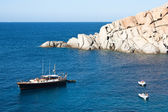 Yacht At Capo Testa, Sardinia — Stock Photo