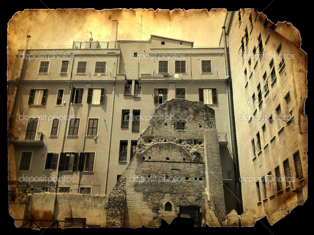 Vintage Images - Scene from the old Rome on piece of burned paper - Via Di Montefiore, Trastevere. — Stock Photo #5959358