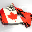 Stock Photo: 3d flag map of canada