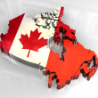 3d flag map of canada - Stock Photo