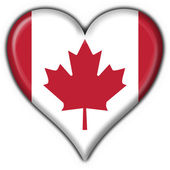 Canada american button heart flag — Stock Photo