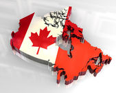 3d flag map of canada — Stock Photo