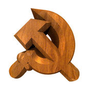 3d made hammer and sickle symbol in wood — Stock Photo