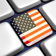 Keyboard (detail) with USA flag key — Stock Photo