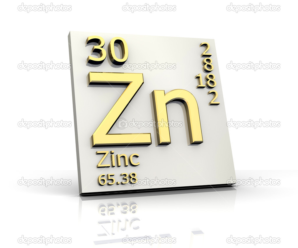Zinc form periodic table of elements stock image