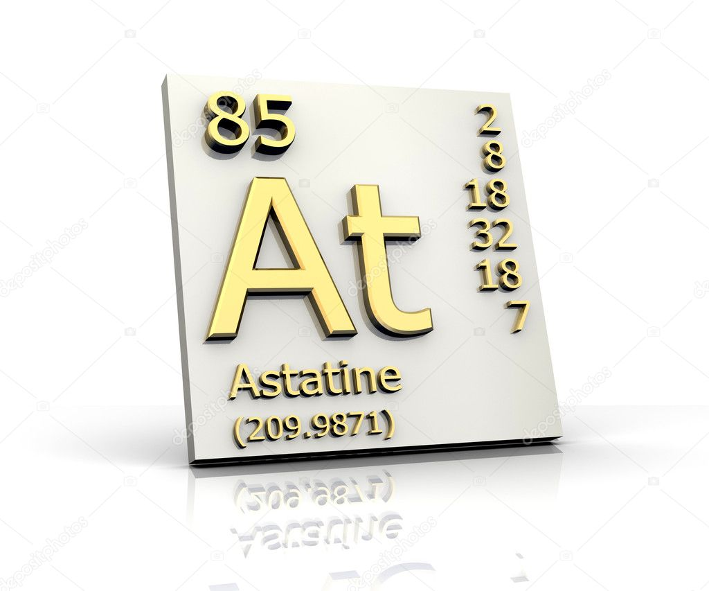 Astatine symbol for Periodic table 85