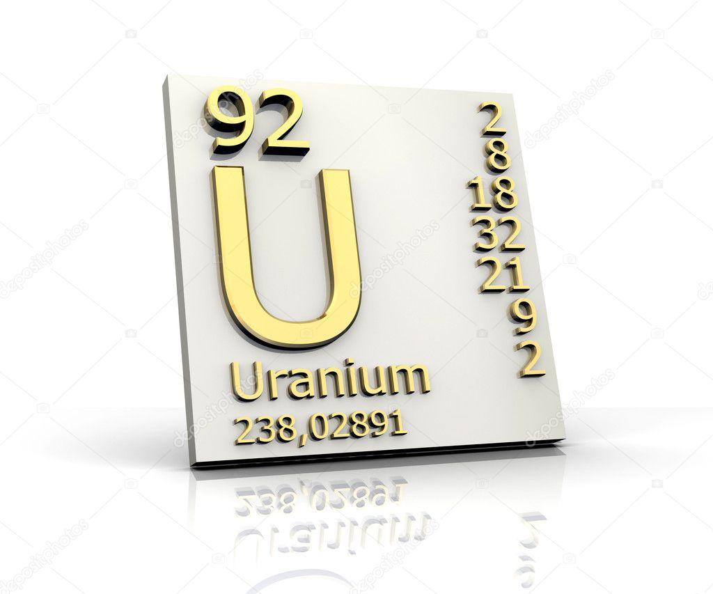 Uranium form Periodic Table of Elements - Stock ImageUranium Symbol Periodic Table