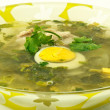 Green sorrel soup — Stock Photo