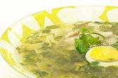 Green sorrel soup — Stock Photo