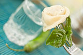 Pelmeni and vodka — Stock Photo