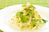 Salad with cooked shrimp — Stock Photo