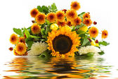 Bouquet of sunflowers in the reflection of water — Stock Photo