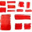 Set of Red paint drawn with brush stroke - Foto de Stock