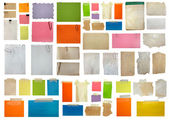 Set of paper notes isolated on white background. big collection — Stock Photo