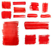 Set of Red paint drawn with brush stroke — Stock Photo