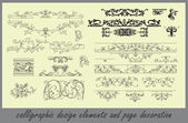 Conjunto de vetores: elementos de design de caligrafia e decoração da página — Vetorial Stock