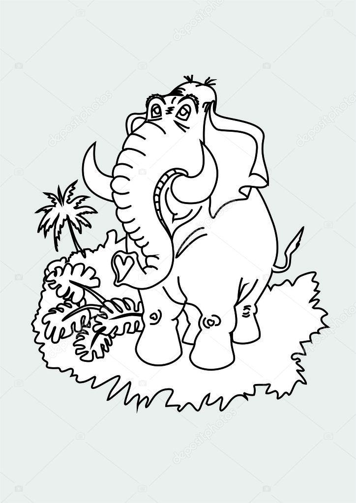 Elephant Cartoon Outline Cartoon Vector Outline