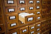 Koncepcja bazy danych. vintage gabinetu. biblioteka karty lub plik wykazu. — Zdjęcie stockowe