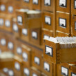 Database concept. vintage cabinet. library card or file catalog. — Stock Photo #6577014