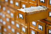 Database concept. vintage cabinet. library card or file catalog. — Stock Photo