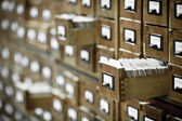 Database concept. vintage kast. de kaart of bestand bibliotheekcatalogus. — Stockfoto