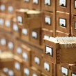 Database concept. vintage cabinet. library card or file catalog. — Stock Photo #6587255