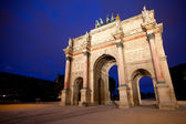 Triumphal arch in Paris night shot — Stock Photo
