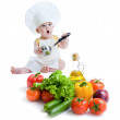 Baby boy preparing healthy food isolated — Stock Photo