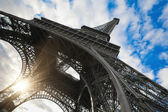 Eiffel tower in Paris wide angle shot — Stock Photo