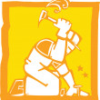 Workman with Hammer - Stock Vector