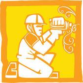 Handwerker mit bohrmaschine — Stockvektor