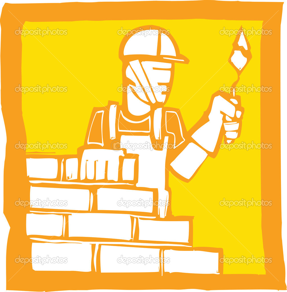 Icon in a woodcut style of a mason laying bricks — Stock Vector #5408055