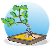 Bonsai tree on the green bacground, vector image — Stock Vector