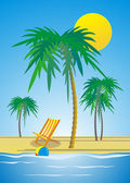 Sandy beach with palm trees — Stock Vector