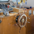 Ship helm in the wheelhouse — Stock Photo