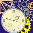 Stock Vector: Antique clock with crack on face, against background of gears