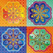 Set of lotus and Dharmacakra - dharma wheel — Stock Vector