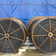 Stock Photo: Large spools of electric cable