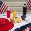 Foto Stock: 4th Of July Hotdog Meal