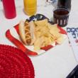 4th Of July Hotdog Meal — Stock Photo #5983748