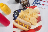4th Of July Hotdog Meal — 图库照片