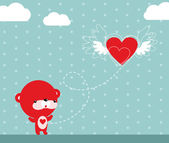 Flying Heart — Vector de stock