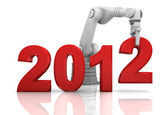 Industrial robotic arm building 2012 year — Stock Photo