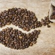 Stock Photo: Coffee beans on board